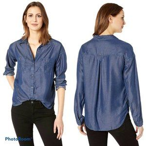PRANA Updrift Top In Vintage Blue Chambray Top